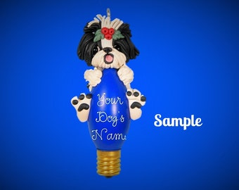 Black & white Shih Tzu Dog Christmas Holidays Light Bulb Ornament Sally's Bits of Clay OOAK PERSONALIZED FREE with dog's name