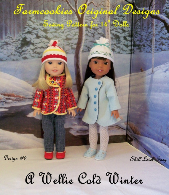 PDF Sewing Pattern: A Wellie Cold Winter/ 14 Inch Doll Clothes Pattern fits American Girl Wellie Wishers® & Glitter Girls