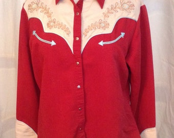 Womens Wrangler Western Rodeo Cowgirl Two Toned Vintage style shirt Rust Blue and Cream with embroidery Dale Evans Large