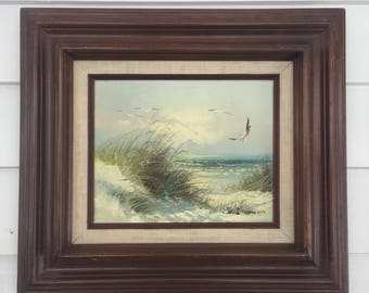 Vintage Nautical Painting of Seaside Landscape Signed by Artist