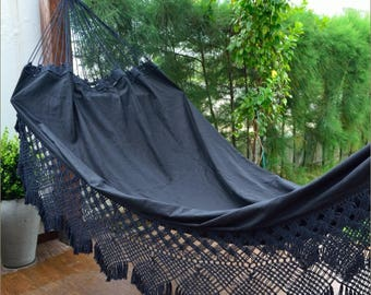 Hammock Cotton Black Two Persons