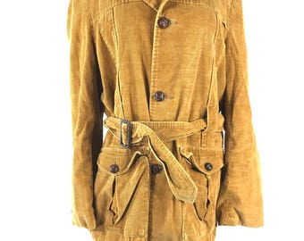 Vintage 60s Richman Brothers Tan Corduroy Jacket with Belt 38R 3 Button
