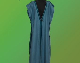 Long medieval blue coat with ribbon - middle ages living history reenactment fantasy festival renaissance fair celtic viking larp