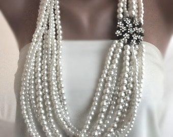 Handmade Weddings Pearl Necklace brides, bridesmaids gifts, special occasion