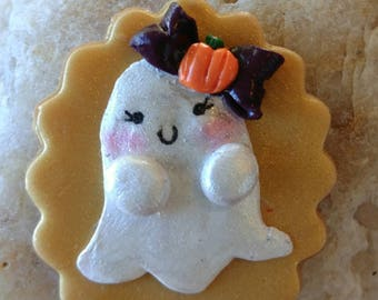 Cute ghost necklace charm polymer clay