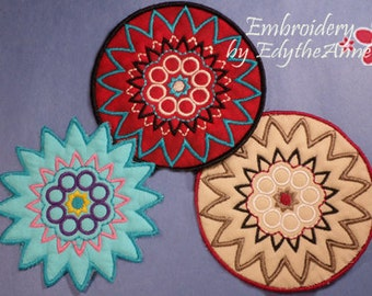 COLOR PLAY COASTER - 2 Versions Included- In The Hoop Embroidery Designs