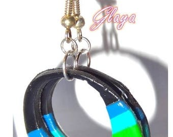 Donut polymer clay, striped blue green earrings black
