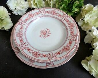 Limoges Porcelain Dinnerware Set. French Vintage Porcelain of Paris dinner plates and bowls . Romantic dinner set