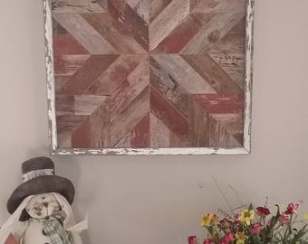 Barn Wood Quilt Block Wall Decor Rustic Artwork Handcrafted from Salvaged Reclaimed Barnwood