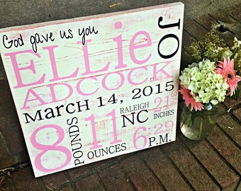 Birth Announcement Sign I Birth Announcement Wall Art I Baby Sign I Baby Wall Decor