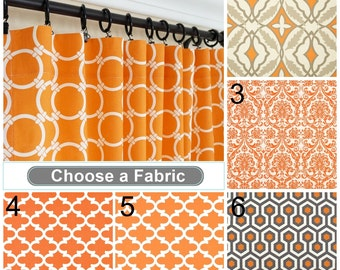 "Orange Curtain Panels Orange Taupe Curtains 63"" 84"" 96"" 108"" Any Size Quartrefoil Curtains Moroccan Drapes Damask Curtains"