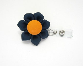 Navy & Orange Retractable Badge Reel, Lanyard, ID Holder, Badge Holder, Kanzashi Badge Reel, Badge Lanyard, Auburn