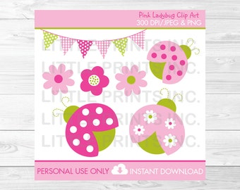 Cute Pink Ladybug Clipart / Ladybug Baby Shower / Ladybug Birthday / Pink & Green / Baby Girl / PERSONAL USE Instant Download A376