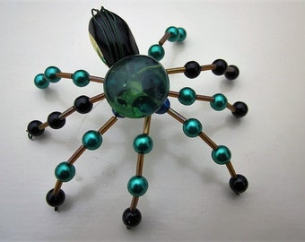 Spider Beaded ,Clear Green Glass,Black,Gold,Blue,
