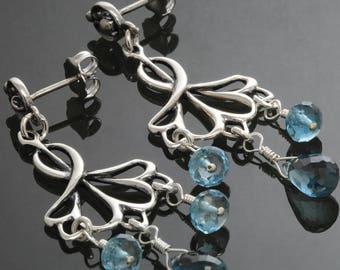 CLEARANCE. London Blue Topaz Earrings. Sterling Silver. Chandelier Earrings. Genuine Topaz. December Birthstone. Post Earrings. f13e091