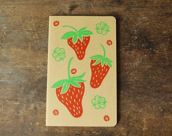 Strawberry cahier journal, large, lined, kraft