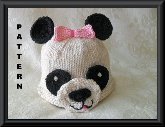 Knitted Hat Pattern Baby Hat Pattern Newborn Hat Pattern Panda Bear