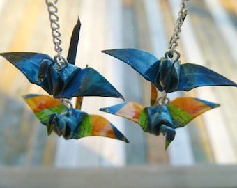 Paradise Double-Crane Earrings - FREE SHIPPING teal & orange colorful recycled-upcycled-repurposed-reclaimed paper #e813 marlisa origami