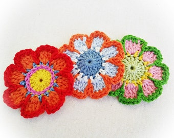 6 Enchantée Crochet Flowers- Pepper