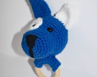 Baby Toy / Crochet Baby Rattle / Crochet Dog Baby Rattle / Crochet Baby Teether / Baby Shower Gift / Baby Easter Basket / Crochet Rattle