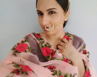 Faux Nose Ring - Gold Nath with Chain - Pearl Polki Nath - Indian Wedding Jewelry, Indian Bridal Nose Ring, Indian Jewelry, Gold Nose Ring