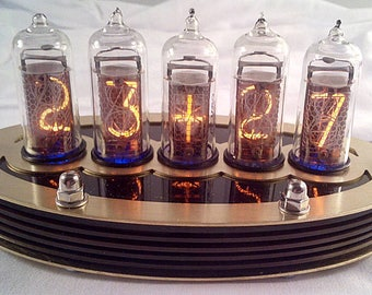 5-tube IN14 Nixie clock kit with Brass and Paxolin case