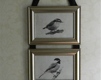 Chickadee, Nuthatch, Titmouse Bird Picture Frame Collage Hanging Wall Art Decor
