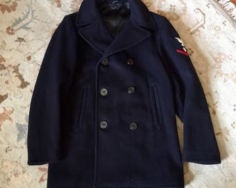 """Vintage 1960s Mens United States Navy Wool Peacoat with Dog Tag Chest 40"""" Blue Kersey Wool 8 Button 1967 Vietnam Excellent Cleaned"""