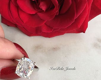 Lily Ring. 925 Sterling Silver and 6 Carat Cubic Zirconia Stone. High Quality Ring. Bridal Ring. Cushion Cut Ring. Big Diamond CZ Ring.
