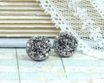 Gray Druzy Earrings Druzy Stud Earrings Metallic Druzy Studs Faux Druzy Earrings Surgical Steel Studs