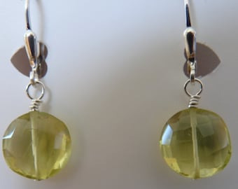 Lemon Quartz Faceted Coin Shaped Gemstone Earrings on Sterling Silver Ear Wire