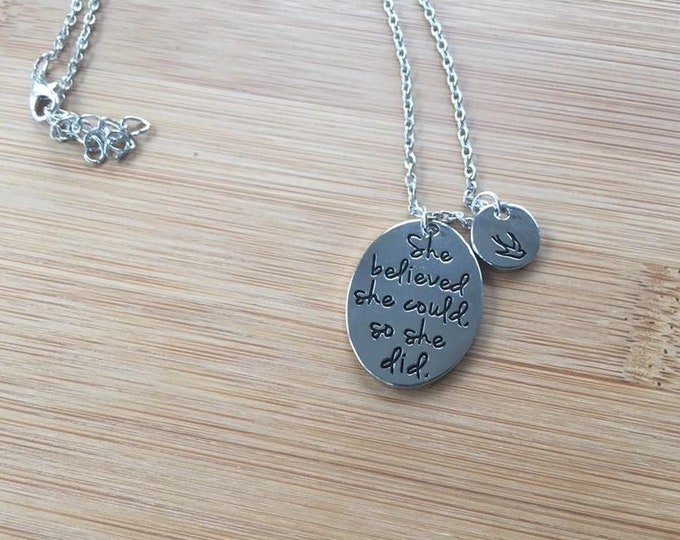 She Believed She Could So She Did Stamped Necklace bird charm adjustable chain Inspirational oval round disc layered