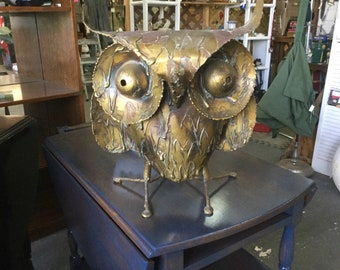 "Curtis Jere Mid-Century Modern Huge Brutalist Owl with Pedestal 1968. 15"" tall."