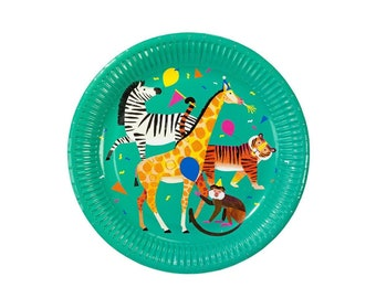 Party Animal Plates - Safari Birthday Safari Baby Shower Safari Party Plates Zoo Party Jungle Animal Party Zoo Animal Jungle Plates  sc 1 st  Etsy & Giraffe paper plate | Etsy