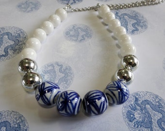 Blue and white beaded nautical necklace