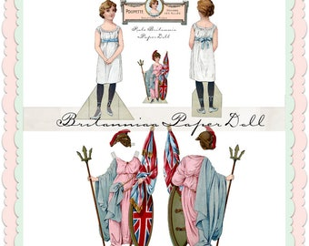 Britannia french restored paper doll digital download