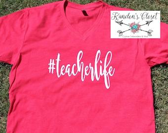 TeacherLife Hashtag. V-Neck Shirt