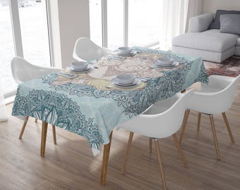 Elephant Tablecloth,Tablecloth Rectangle,Tablecloth Square,Home Decor,Kitchen Decor,Ganesha,Bohemian Tablecloth,Mandala Tablecloth
