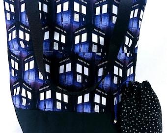 Studio Bucket Tote - Knitting & Crochet Large Project Bag - Doctor Who TARDIS