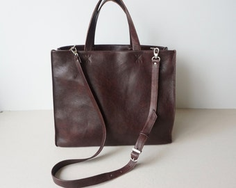 Red Brown Soft Leather Tote Bag  / Chocolate Everyday Women Handbag  / Cross Body Leather Bag / Lined