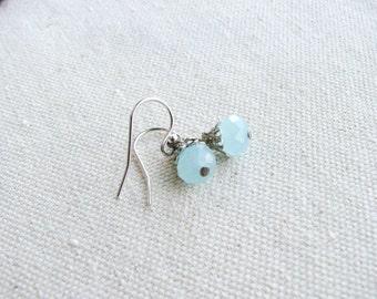 Beaded Earrings Dangles Sky Blue Glass Rondelle Beads Minimalist Bridal Elegant Simple Design Sterling Silver Delicate