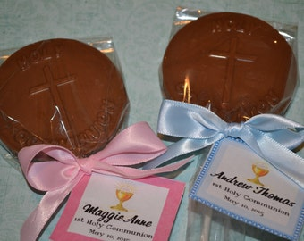 Chocolate Holy Communion Lollipop for First Communions - Communion Favor - Chocolate Communion Lollipop - First Holy Communion - Communion