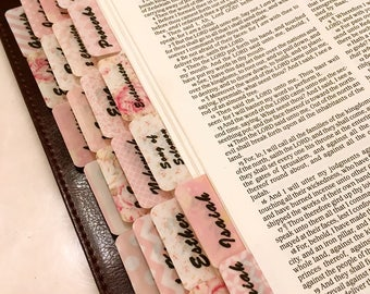 "CATHOLIC ""Peachy-Pinkie"" Multi-Hued Books of Bible Tabs by Victoria Anderson"