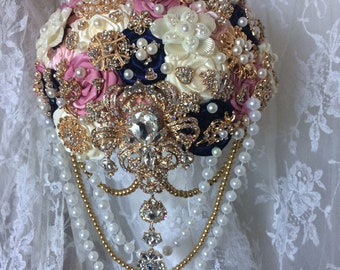Custom Brooch Bouquet, Available In Any Color Scheme, Rose Gold or Silver Brooches, Reserved with 150 Deposit, Full Price Starts at 200.00