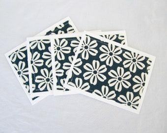 Notecard set fabric notecards blank inside teacher gift for her navy flowers, set of 8