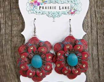 SALE!!! Western Clay Earrings - Large Red Flower with Turquoise Center Golden Rhinestones