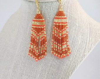 Orange Fringe Seed Bead Earrings, Handmade Beaded Boho Earrings, Statement Hippie Earrings, Southwestern Style Native Inspired