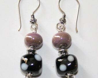 Black and Purple dangley earrings