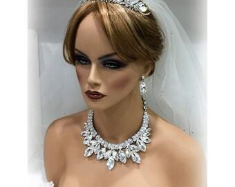 Hochzeit Schmuck set, Hochzeit Tiara, Braut-Schmuck-Set, Braut, Braut Hintergrund Lätzchen Marquise Kristall Halskette Ohrringe Kopfschmuck set