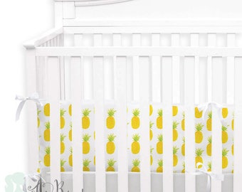 Watercolor Pineapple 2-in-1 Crib Bumper/Rail Cover | Convertible Baby Girl Bumper Set | Pineapple Crib Bumper Set